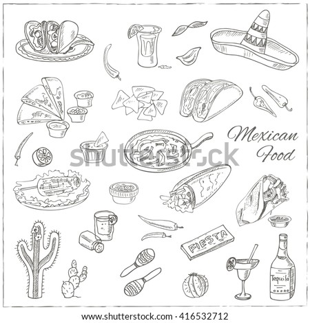 Vector hand drawn set of Mexican food vegetables, tequila, burrito, tacos and other mexican eating.  Vintage illustration for design menus, recipes and packages product.