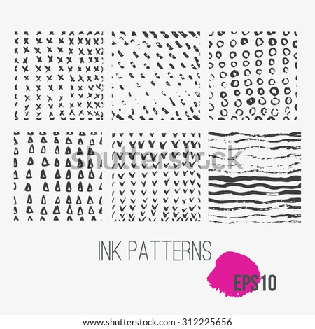 Vector Hand Drawn  set of seamless patters made with ink. Contains  spot, drop.