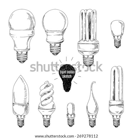 Vector hand drawn set of sketches of different light bulbs on a white background. Vintage illustration. - stock vector