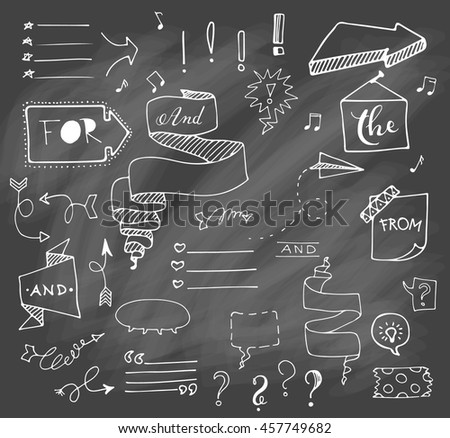 Vector hand drawn set on grey chalk background of objects:arrow, banner, word, list, brush, pen, figure, check mark.Collection of elements in doodle style. Isolated. White outlines.