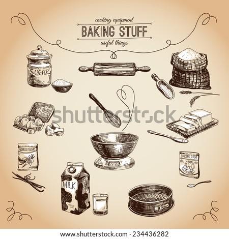 Vector hand drawn set. Vintage Illustration with milk, sugar, flour, vanilla, eggs, mixer, baking powder, rolling, whisk, spoon vanilla bean, butter and kitchen dish.  - stock vector