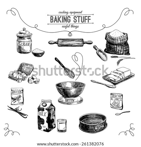 Vector hand drawn set. Vintage Illustration with milk, sugar, flour, vanilla, eggs, mixer, baking powder, rolling, whisk, spoon vanilla bean, butter and kitchen dish. - stock vector
