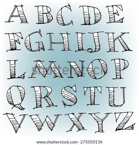 Vector Hand Drawn Sketch Alphabet - stock vector