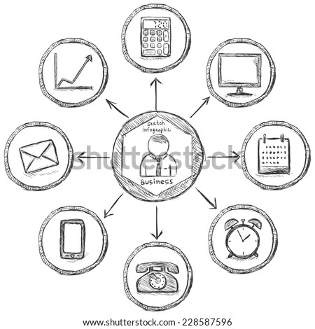 Vector Hand Drawn Sketch Business Infographic Template - stock vector
