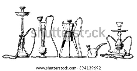 Vector hand drawn sketch of hookah set in ink hand drawn style.  - stock vector