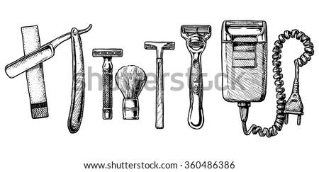 Vector hand drawn sketch of shaving accessories set in ink hand drawn style.  Straight razor, double-edge Safety razor and shaving brush, disposable razor, modern razor, Electric razor.  - stock vector