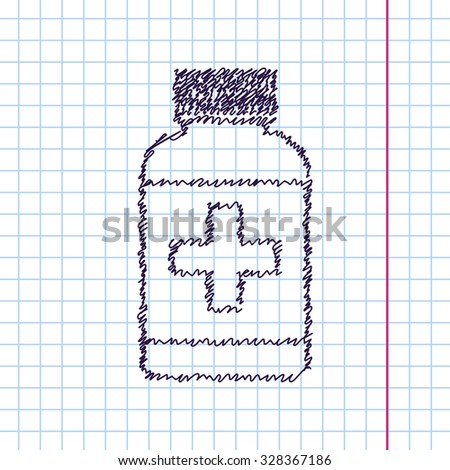Vector hand drawn sketch tablet bottle on copybook. Doodle style . Health icon  - stock vector