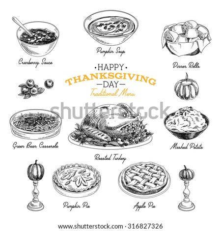 Vector hand drawn sketch Thanksgiving food set. Restaurant menu. Retro illustration. Sketch.  - stock vector