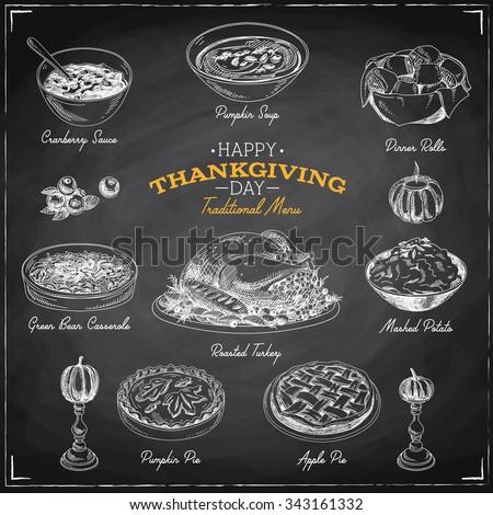 Vector hand drawn sketch Thanksgiving food set. Restaurant menu. Retro illustration. Sketch. Chalkboard - stock vector