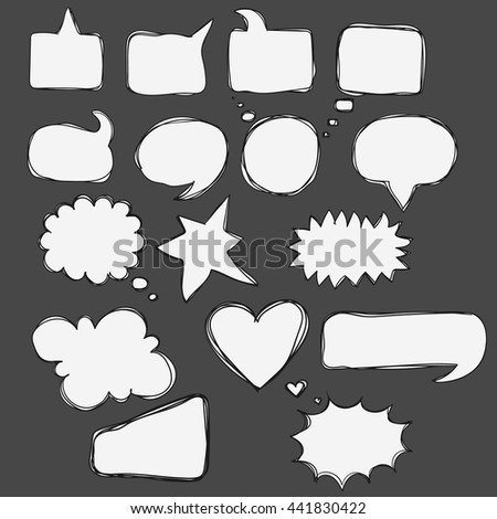 Vector hand drawn speech bubbles. Doodle frames for text conversation. Speaking, Talk, a dialogue, phrase story place for comics. - stock vector