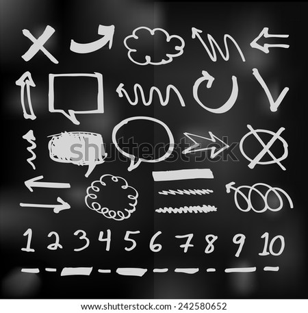 vector hand drawn speech bubbles doodles chalkboard - stock vector