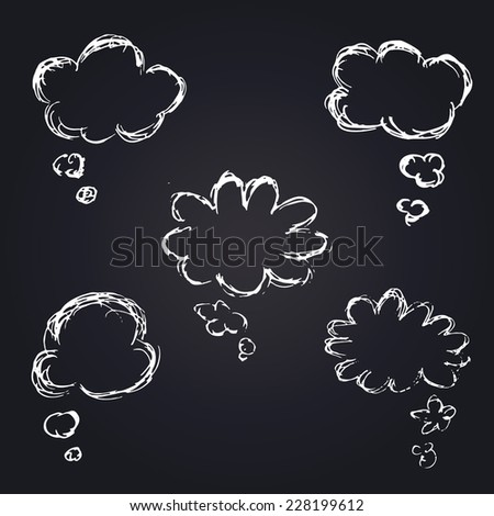 Vector Hand Drawn Speech Bubbles Set, Chalk drawing on blackboard - stock vector