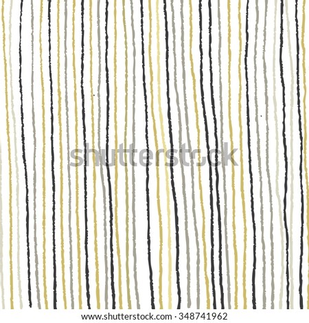 Vector hand drawn stripes. Background with stripes. Gold and Silver. Vector.