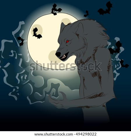 Vector hand drawn style Halloween illustration with werewolf in front of full Moon