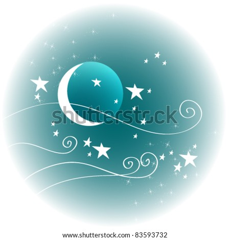 Vector hand drawn style illustration of cute winter night