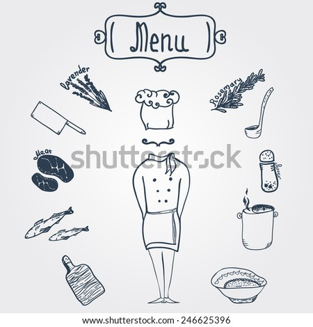 Vector hand-drawn stylish chef with dishes and menu label  - stock vector