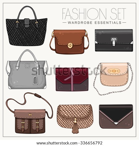 Vector hand drawn stylish fashion set of woman's bags - stock vector