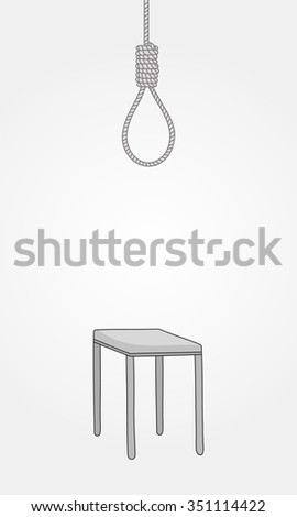 Vector hand drawn suicide objects collection. Chair and rope sad sketch - stock vector