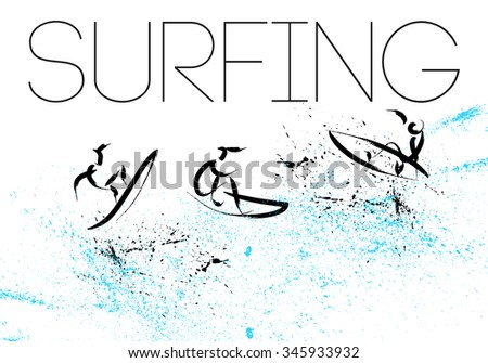 Vector hand drawn surfing athletes. Sportsman sketches. Ink drawing. Good for advertising, print design, magazine illustration. - stock vector