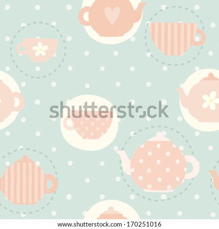 Vector hand drawn tea time pattern - stock vector
