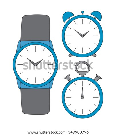 Vector hand drawn time set. Clock, Wrist Watch and timer concept sketches - stock vector