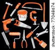 vector hand drawn tools in gray and orange color - stock vector