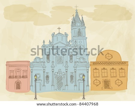 Vector hand drawn town - stock vector