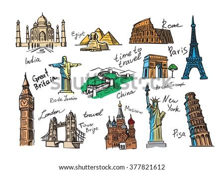 vector hand drawn travel icon sketch doodle - stock vector