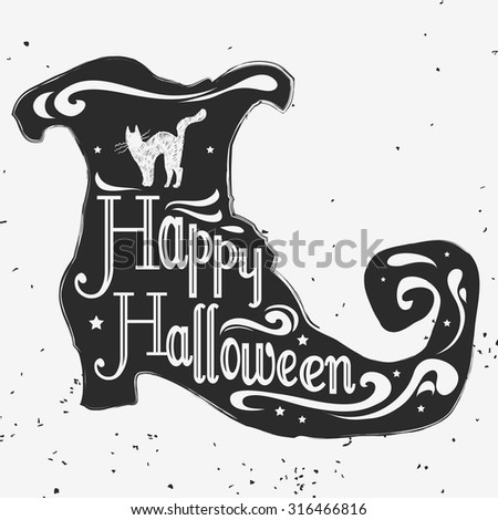 Vector hand drawn typographic poster. Happy halloween. Grunge texture. Lettering. T-shirt design, label, invitation, decor elements, greeting & postal cards. Halloween series - stock vector