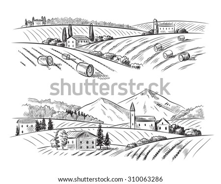 vector hand drawn village houses sketch and nature - stock vector