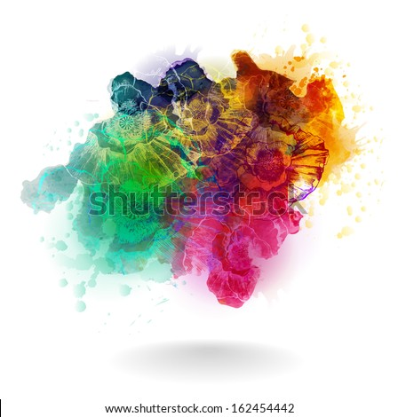 Vector hand drawn watercolor background with flowers. EPS 10 - stock vector