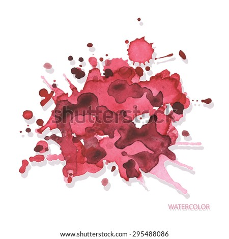 vector hand drawn watercolor pink stains on white background - stock vector