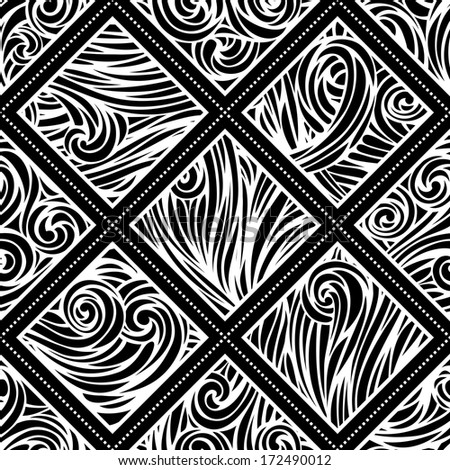 Vector hand-drawn waves pattern. Seamless abstract black and white pattern. Waves template. Seamless pattern can be used for wallpapers, web page backgrounds or wrapping papers. EPS 8.  - stock vector