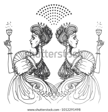 Vector Hand Drawn Women With Crown Of Princess Isolated On A White Background Black And