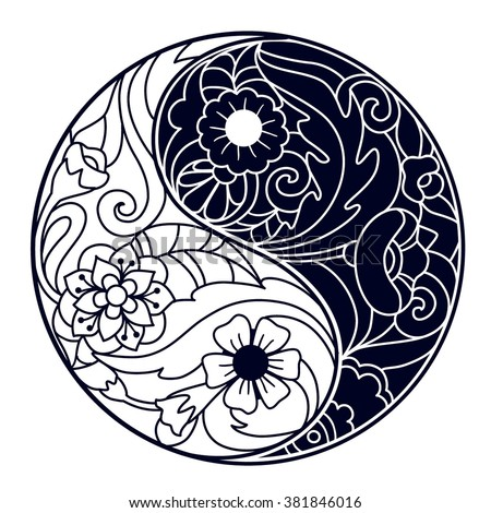 Vector Hand Drawn Yin and Yang Symbol Decorated with Indian Ornaments. - stock vector