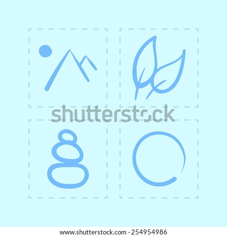 vector hand drawn zen icons set on a blue background - stock vector