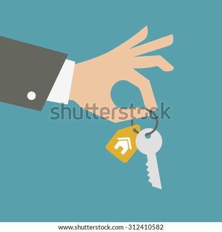 Vector hand giving keys. Real estate concept.  - stock vector
