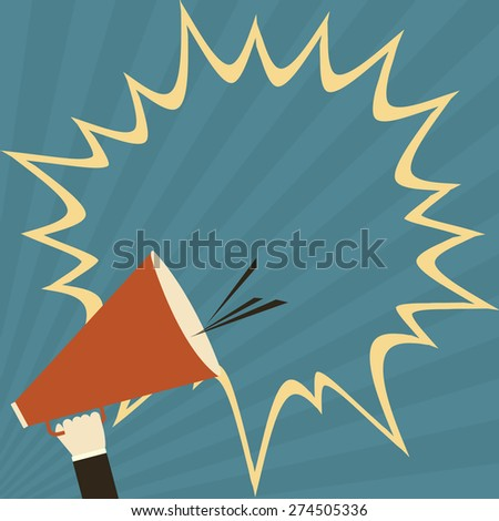 vector hand holding megaphone for public relations - stock vector