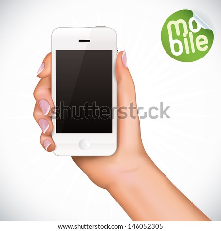 Vector Hand Holding Touchscreen Mobile Phone, Iphon, Ipade, Ipode style gadget Illustration, Icons, Sign, Badge With Sticker
