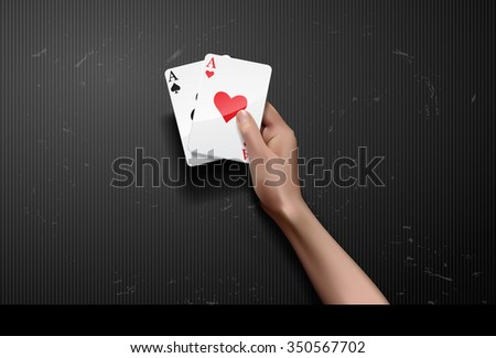vector hand holding two aces - stock vector