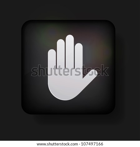 Vector hand icon on black. Eps 10