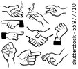 Vector hand in different poses. - stock vector