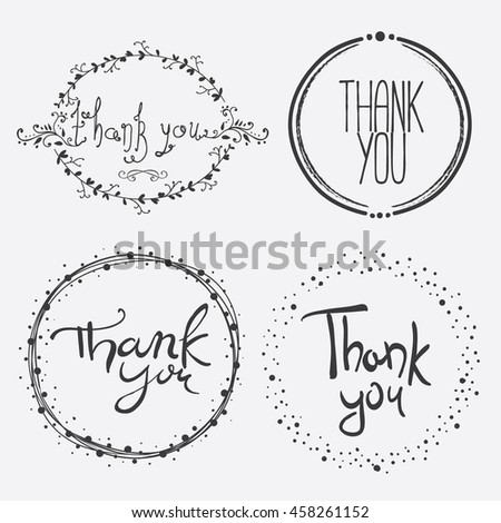 Vector Hand Lettering Thank You Overlays. Design element for congratulation cards, banners and flyers - stock vector