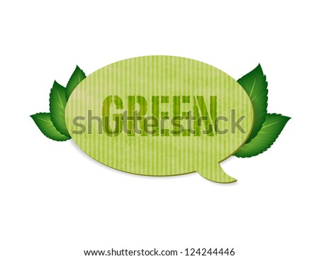 Vector hand made vintage paper textured speech bubble with green leaves - stock vector