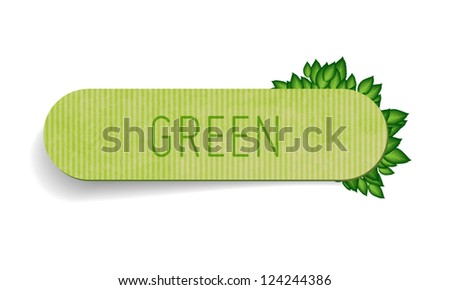 Vector hand made vintage paper textured tag / banner with green leaves - stock vector