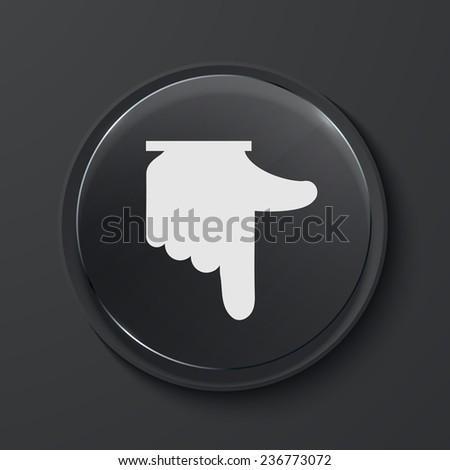 Vector hand modern black glass circle icon. Eps10 - stock vector