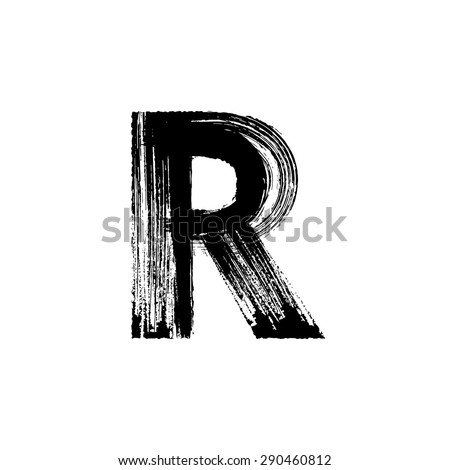 Vector hand paint letter R. Hand drawn letter with dry brush. - stock vector
