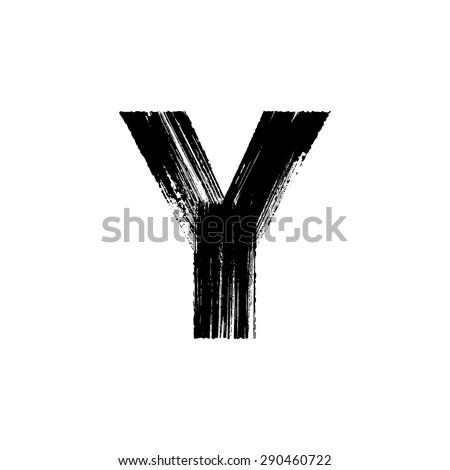 Vector hand paint letter Y. Hand drawn letter with dry brush. - stock vector