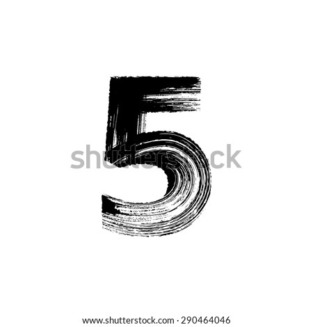 Vector hand paint number five. Hand drawn letter with dry brush. - stock vector