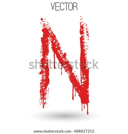 Vector hand paint with dry brush letter N isolated on white background. Red paint.Calligraphic. Grunge. Alphabet symbol. Brutal aggressive sloppy font. Bloody character. Blood, Halloween. Eps 8.